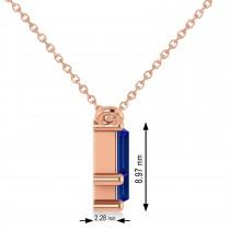 Bar Blue Sapphire & Diamond Baguette Necklace 14k Rose Gold (3.10 ctw)