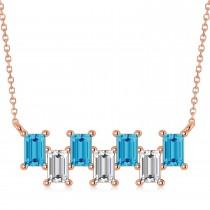 Bar Blue Topaz & Diamond Baguette Necklace 14k Rose Gold (1.98 ctw)