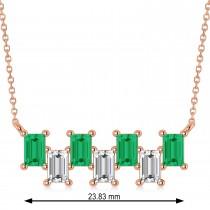 Bar Emerald & Diamond Baguette Necklace 14k Rose Gold (2.10 ctw)