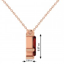 Bar Garnet & Diamond Baguette Necklace 14k Rose Gold (1.90 ctw)