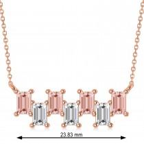Bar Morganite & Diamond Baguette Necklace 14k Rose Gold (3.10 ctw)