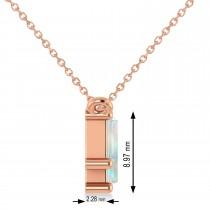 Bar Opal & Diamond Baguette Necklace 14k Rose Gold (2.10 ctw)
