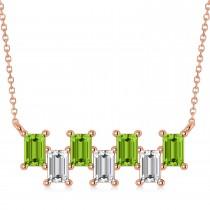 Bar Peridot & Diamond Baguette Necklace 14k Rose Gold (2.30 ctw)