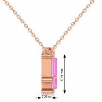 Bar Pink Sapphire & Diamond Baguette Necklace 14k Rose Gold (3.10 ctw)