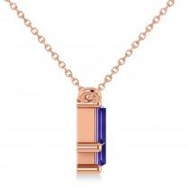Bar Tanzanite & Diamond Baguette Necklace 14k Rose Gold (2.42ctw)