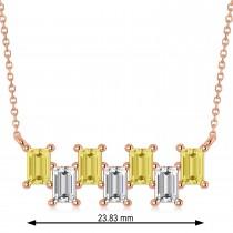 Bar Yellow Diamond & Diamond Baguette Necklace 14k Rose Gold (2.10 ctw)