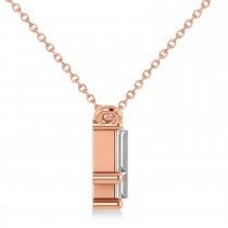 Bar Diamond Baguette Pendanat Necklace 14k Rose Gold (2.10 ctw)