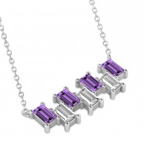 Bar Amethyst & Diamond Baguette Necklace 14k White Gold (2.50ctw)