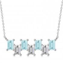 Bar Aquamarine & Diamond Baguette Necklace 14k White Gold (1.90 ctw)