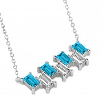 Bar Blue Diamond & Diamond Baguette Necklace 14k White Gold (2.10 ctw)