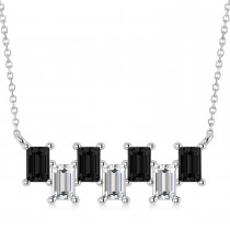 Bar Black Diamond & Diamond Baguette Necklace 14k White Gold (2.10 ctw)