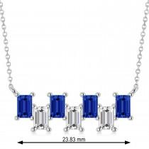 Bar Blue Sapphire & Diamond Baguette Necklace 14k White Gold (3.10 ctw)