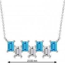 Bar Blue Topaz & Diamond Baguette Necklace 14k White Gold (1.98 ctw)