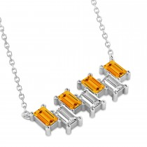 Bar Citrine & Diamond Baguette Necklace 14k White Gold (2.30 ctw)