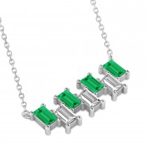 Bar Emerald & Diamond Baguette Necklace 14k White Gold (2.10 ctw)