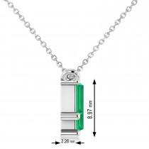 Bar Emerald & Diamond Baguette Necklace 14k White Gold (2.10 ctw)