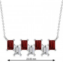 Bar Garnet & Diamond Baguette Necklace 14k White Gold (1.90 ctw)