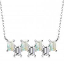 Bar Opal & Diamond Baguette Necklace 14k White Gold (2.10 ctw)