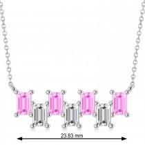 Bar Pink Sapphire & Diamond Baguette Necklace 14k White Gold (3.10 ctw)