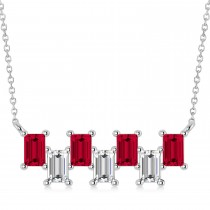 Bar Ruby & Diamond Baguette Necklace 14k White Gold (3.10 ctw)
