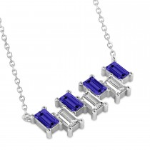 Bar Tanzanite & Diamond Baguette Necklace 14k White Gold (2.42 ctw)