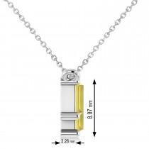 Bar Yellow Diamond & Diamond Baguette Necklace 14k White Gold (2.10 ctw)
