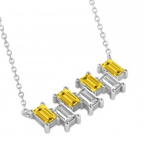 Bar Yellow Sapphire & Diamond Baguette Necklace 14k White Gold (3.10 ctw)