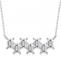 Bar Diamond Baguette Pendanat Necklace 14k White Gold (2.10 ctw)