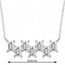 Bar Diamond Baguette Pendanat Necklace 14k White Gold (2.10 ctw)