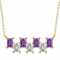Bar Amethyst & Diamond Baguette Necklace 14k Yellow Gold (2.50 ctw)