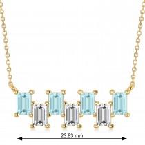 Bar Aquamarine & Diamond Baguette Necklace 14k Yellow Gold (1.90 ctw)