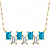 Bar Blue Diamond & Diamond Baguette Necklace 14k Yellow Gold (2.10 ctw)