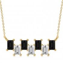Bar Black Diamond & Diamond Baguette Necklace 14k Yellow Gold (2.10 ctw)
