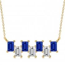 Bar Blue Sapphire & Diamond Baguette Necklace 14k Yellow Gold (3.10 ctw)