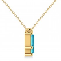 Bar Blue Topaz & Diamond Baguette Necklace 14k Yellow Gold (1.98 ctw)