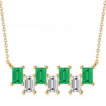 Bar Emerald & Diamond Baguette Necklace 14k Yellow Gold (2.10 ctw)