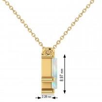 Bar Opal & Diamond Baguette Necklace 14k Yellow Gold (2.10 ctw)