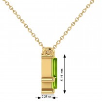Bar Peridot & Diamond Baguette Necklace 14k Yellow Gold (2.30 ctw)
