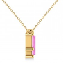 Bar Pink Sapphire & Diamond Baguette Necklace 14k Yellow Gold (3.10 ctw)