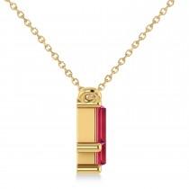 Bar Ruby & Diamond Baguette Necklace 14k Yellow Gold (3.10 ctw)