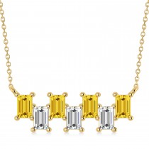 Bar Yellow Sapphire & Diamond Baguette Necklace 14k Yellow Gold (3.10 ctw)