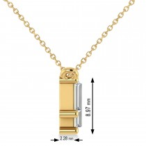 Bar Diamond Baguette Pendanat Necklace  14k Yellow Gold (2.10 ctw)