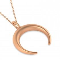 Crescent Moon Horn Pendant Necklace 14k Rose Gold