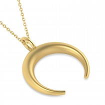Crescent Moon Horn Pendant Necklace 14k Yellow Gold