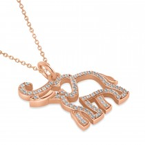 Diamond Elephant Pendant Necklace 14k Rose Gold (0.34ct)