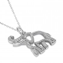 Diamond Elephant Pendant Necklace 14k White Gold (0.34ct)