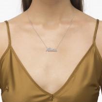 Personalized Diamond Name Pendant Necklace 14k White Gold
