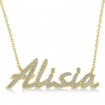 Personalized Diamond Name Pendant Necklace 14k Yellow Gold