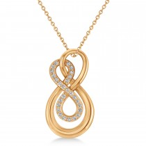 Diamond Double Infinity Pendant 14k Rose Gold (0.14 ctw)