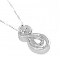 Diamond Double Infinity Pendant 14k White Gold (0.14 ctw)